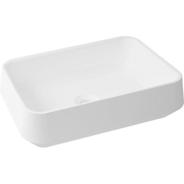 Vasque A Poser Resine De Synthese L 45 X P 32 Cm Blanc Bjorg Vasque A Poser Vasque Et Blanc