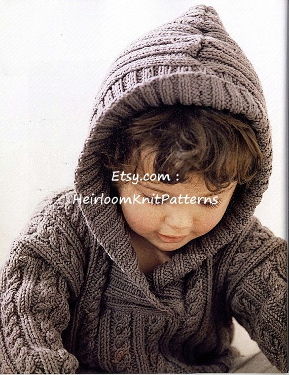 Child's Cable & Rib Sweater with Hood by HeirloomKnitPatterns
