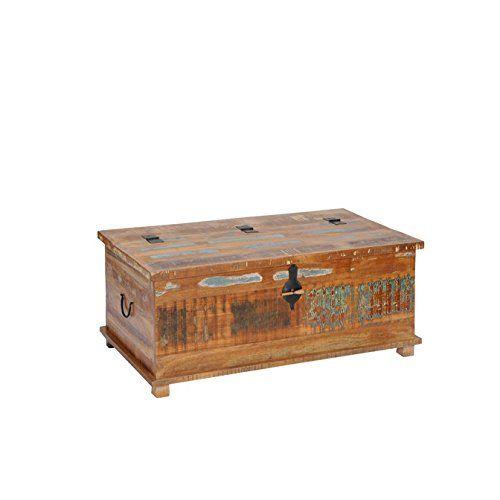 Couchtisch Truhe Allegro Altholz Massiv Bunt Holz Teak Lackiert Vintage