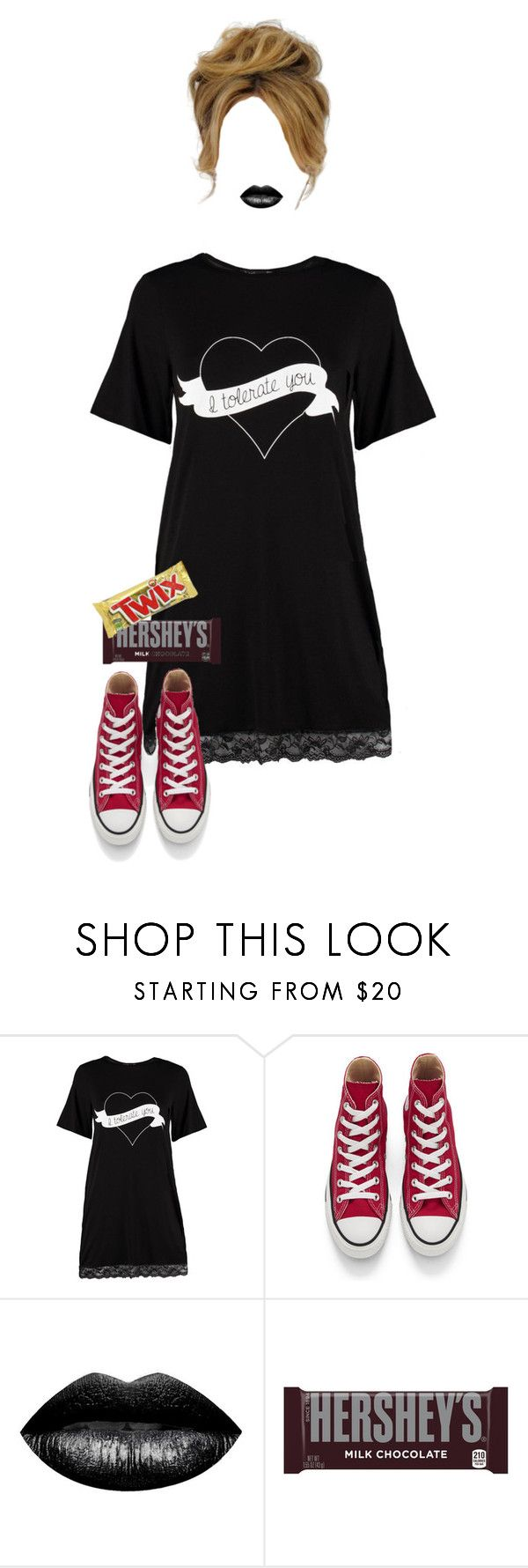 """""""Valentine mood"""" by looks-lie ❤ liked on Polyvore featuring Boohoo, Converse, The Lip Bar and Hershey's"""