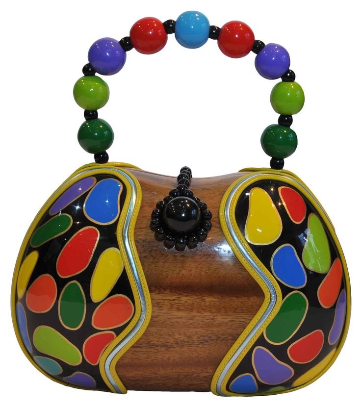 Eleda Hats - Rocio Arcacia Wooden Handbag with Multi-Coloured Trim