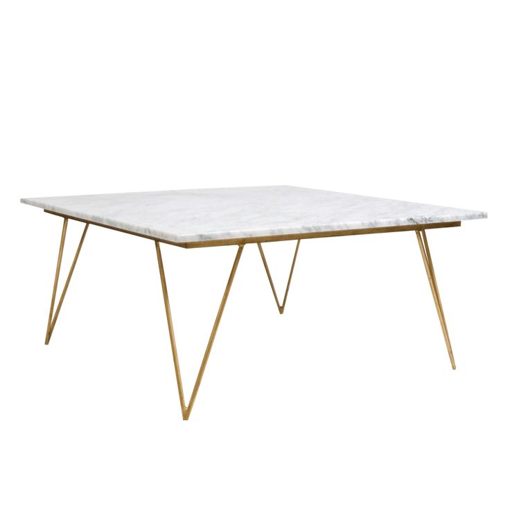 38x38 NEAL GW   Hairpin Leg Gold Leaf Coffee Table W. White Marble Top.