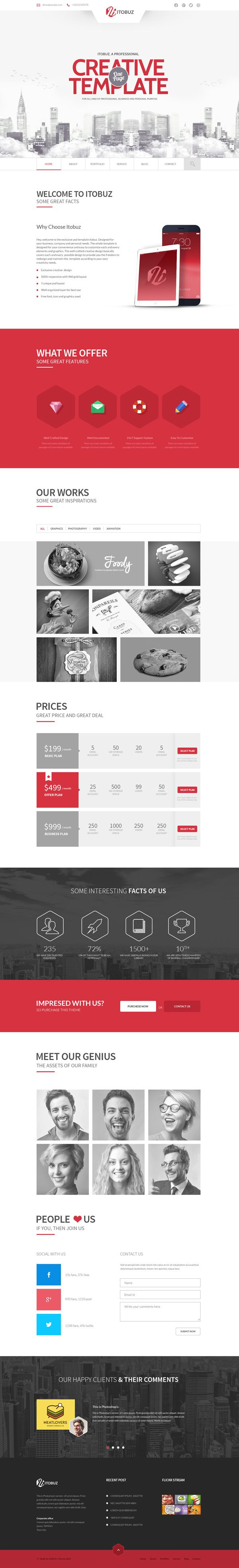 Itobuz one page psd template html5templates psdtemplates psd templates pinterest psd for Pinterest template psd