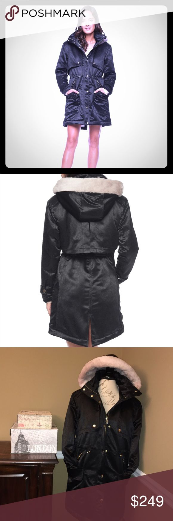 Juicy Couture Black Lux Faux Fur Parka-Large Juicy Couture Black Lux Faux Fur Parka-Large  Brand new with tags!! ☺️ Heavy and very warm. Lined with pink faux fur. This parka has two large open pockets and two zipper pockets. Measures 35 inches from shoulder to hem. Perfect for the upcoming holidays. ☺️🎁 Juicy Couture Jackets & Coats