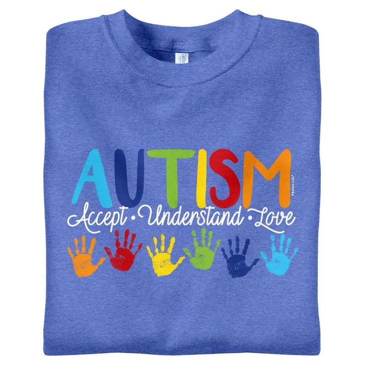 "BackDetailsWear our new ""Accept • Understand • Love"" t-shirt this April for Autism Awareness Month! Shirt is on exclusive Heather Royal with bright-colored handprints."
