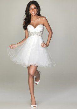 A-line kurzen Abendkleider weiß sexy prom Kleider