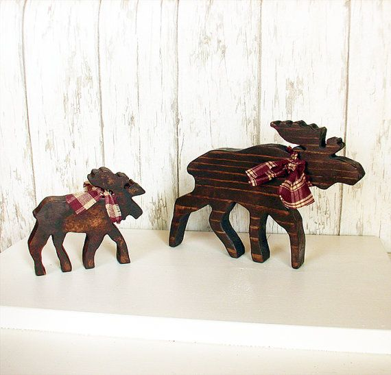 Two+Rustic+Wood+Moose++Set+of+Two+Brown+Wooden+by+TumbleweedCabin,+$17.00