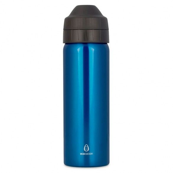 Ecococoon 600ml Stainless Steel Water Bottle Blue Topaz