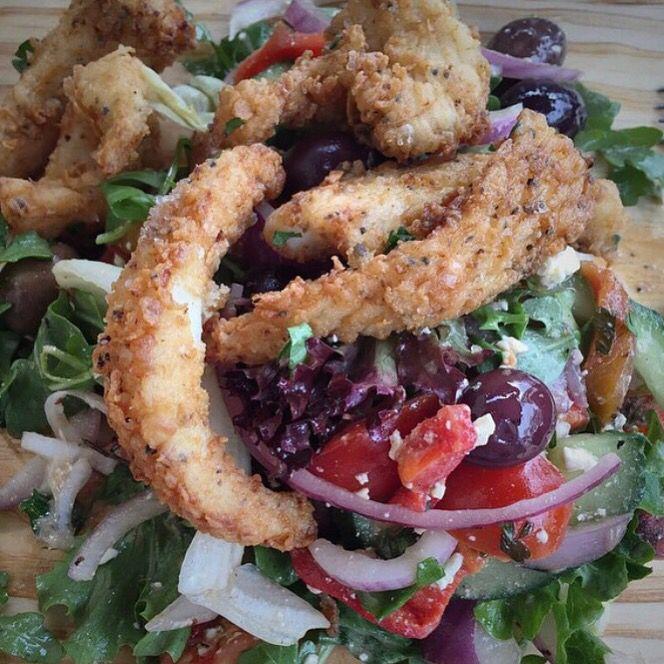Noci mediterranean salad with Calamari. Yummy!