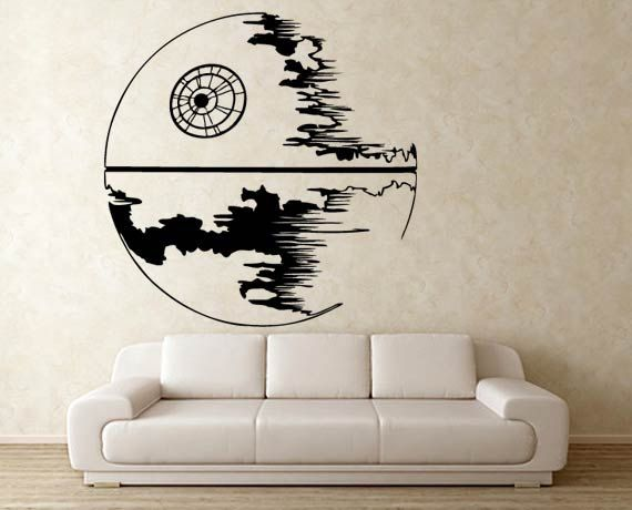 star wars death star vinyl wall decal wd0303 van tapong op etsy geek pinterest. Black Bedroom Furniture Sets. Home Design Ideas