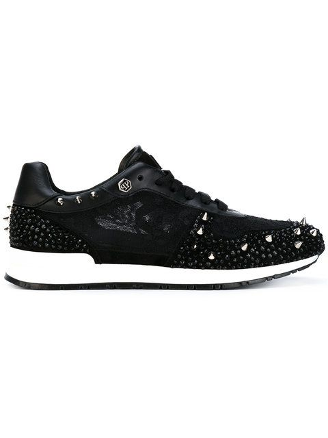 PHILIPP PLEIN srtudded lace-up sneakers. #philippplein #shoes #flats