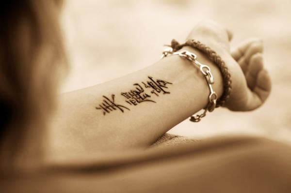 Kanji tattoo on inner wrist