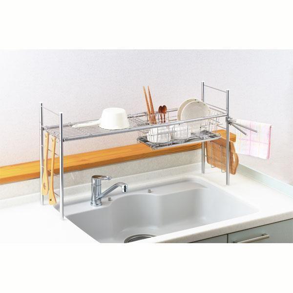 シンク上をまたいで水切りできます。伸縮式でピッタリ設置できます。オールステンレス製で衛生的。箸立て、まな板立て、フキン掛け、S字フックと便利な付属品も付いています。■商品サイズ/幅64~100・奥行21.6・高さ47.7cm■品質/〔本体フレーム・パイプ・水切り〕ステンレス鋼●日本製