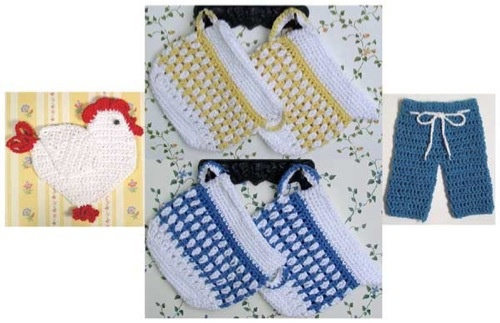 Create a set of unique crochet potholders for your kitchen with the Old Fashioned Potholders Set 2 Pattern. These vintage style of potholders bring enjoyment to every meal. The four fun designs found in this set include a chick, pants, creamer bowl and sugar bowl. The designs are perfect for any kitchen, whether you like country-inspired designs or just want to add some homemade flair to the space. There will be plenty of smiles around the dinner table with any one of the adorable patterns