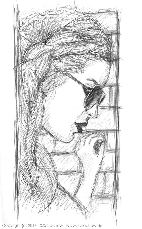Bleistift-Zeichnung einer Frau mit Sonnenbrille www.schachow.de/…