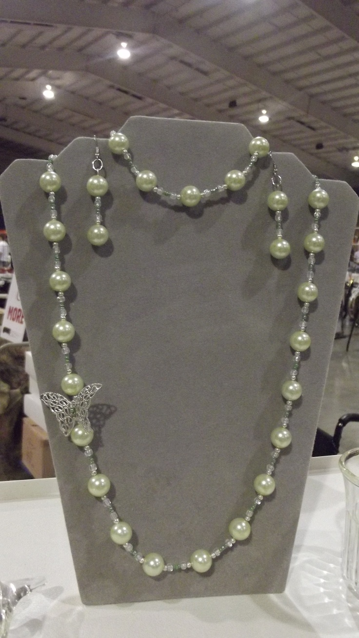 Green Pearls and Butterfly-Necklace, Bracelet and Earrings--SOLD