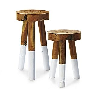 Dip-Dyed Stools – White | Serena & Lily