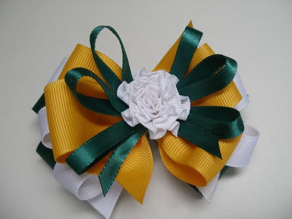 Green Bay Forest Green Yellow Gold and White Hair by HareBizBows