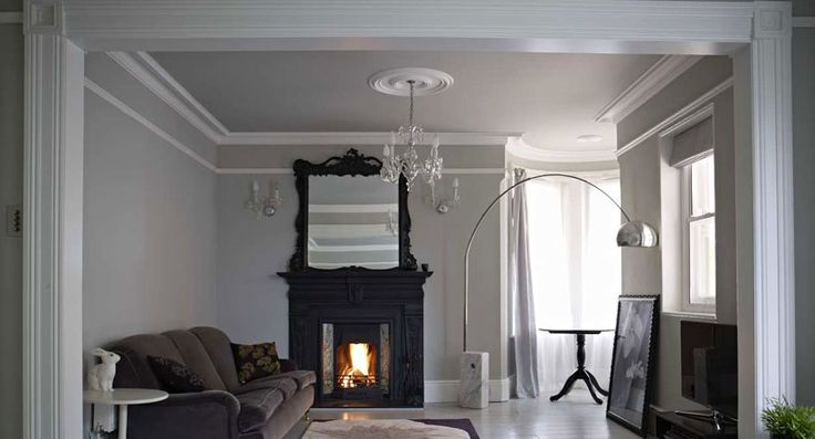 Living Room with walls in Pavillion Gray and woodwork in All White