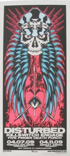 Original silkscreen concert poster for Disturbed and Killswitch Engage in Florida in 2009. 12 x 26 inches. Signed and numbered out of 200 by the artist Mike Martin