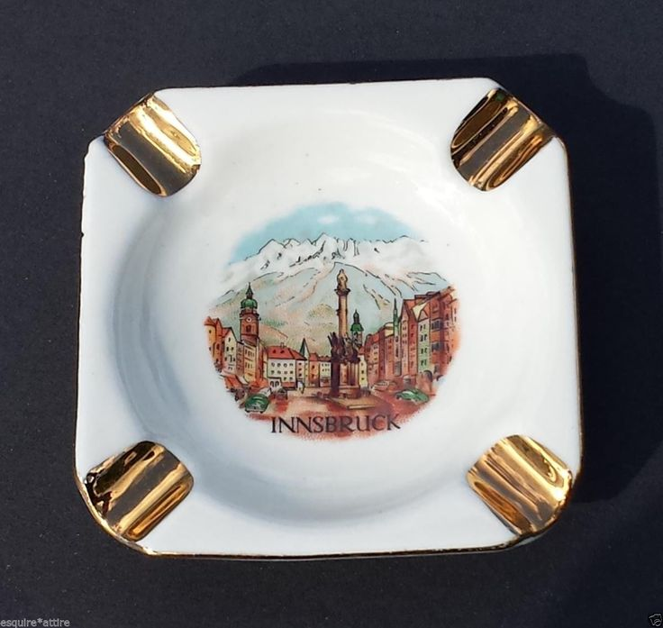 #collectible vintage ashtray INNSBRUCK Austria ceramic 24 kt gold painted trim by LUTZ withing our EBAY store at  http://stores.ebay.com/esquirestore