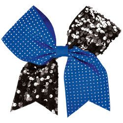 This new cheerleading competition hair bow features a two color design of rhinestone studded color ribbon and colored sequin ribbon.