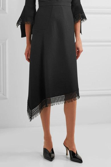 Roland Mouret - Tarring Macramé Lace-trimmed Asymmetric Wool-crepe Skirt - Black - UK18