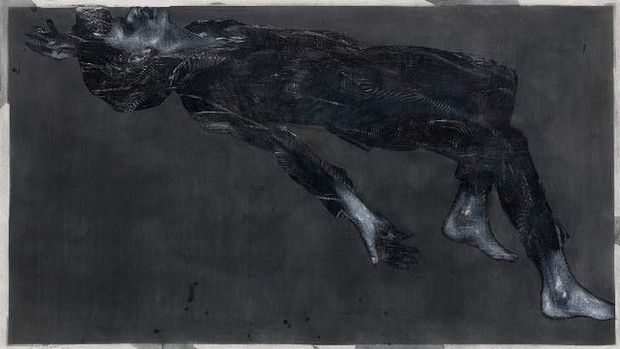 Oblivion,2013, chinagraph, silver oxide, pastel on paper, by Godwin Bradbeer.