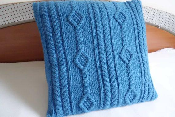 Custom Blue Diamond Knit Pillow, Throw Pillow, Decorative Knit Pillow Cover, Knit Pillow Case, Hand Knit Cushion Cover