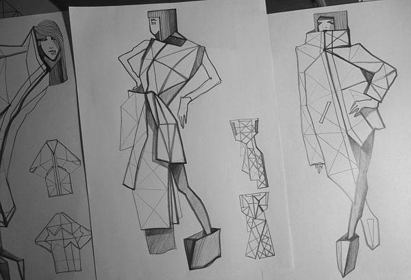 Fashion Sketch book - fashion design drawings for geometric garments; fashion portfolio // Lisa Shahno