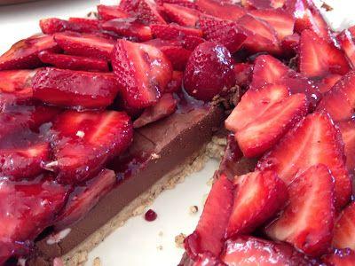 Dairy and gluten free chocolate and strawberry cheesecake