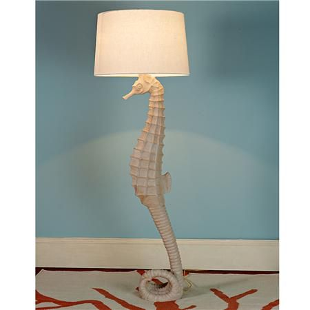 Whimsical seahorse floor lamp, really creative lamp for a coastal style room.