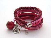 Podwójna bransoletka bordowo-różowa