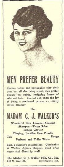 """'Men Prefer Beauty.' Use Madame CJ Walker's Wonderful Hair Grower"" #hairstory"
