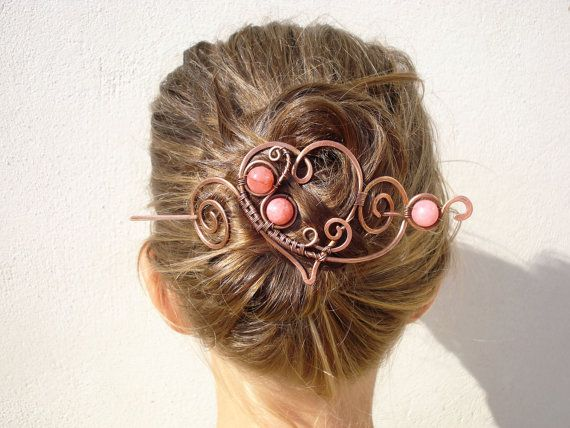 Heart Hair Barrette Clip Handmade Wire Wrap by MargoJewelryDesign