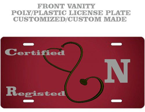 Custom+made+Burgundy+Nurse+license+plate.  Vinyl+lettering+on+poly+license+plate.  Easy+to+clean,+has+4+pre-drilled+holes.  UV+and+weather+resistant+vinyl+and+plate.  This+is+a+6x12+license+plate  Grey+lettering.  Goes+on+the+front+of+you+automobile+or+you+can+just+hang+it+up+inside+your+home.  W...