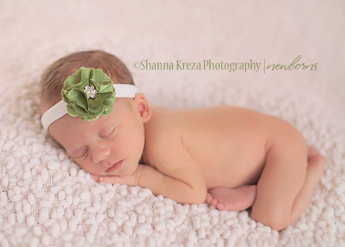 Handcrafted baby satin headband, With rhinestone center.