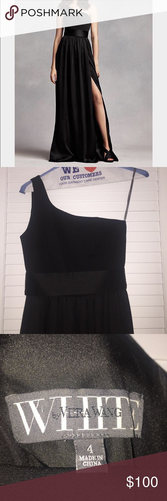 "Vera Wang Bridesmaid Black One Strap Dress Vera Wang black one shoulder bridesmaid dress. Size 4 only worn ONCE. I am 5' 4"" and weigh 125 pounds...beautiful dress. Very comfortable and classy. Vera Wang Dresses One Shoulder"