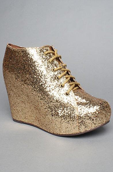 Jeffrey Campbell The 99 Tie Shoe in Gold Glitter in Gold. Tie ShoesWomen's  ...