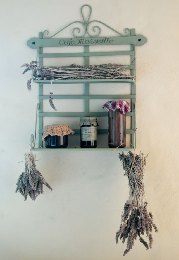 Duck egg blue rack with dried lavender and some homemade preserves - perfect for a French Provincial style kitchen!
