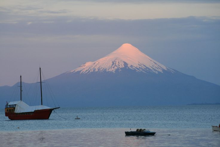 Volcan Osorno and Lago Llanquihue at sunset. Puerto Varas, Chile.