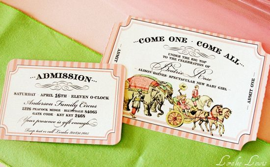 vintage inspired circus invites