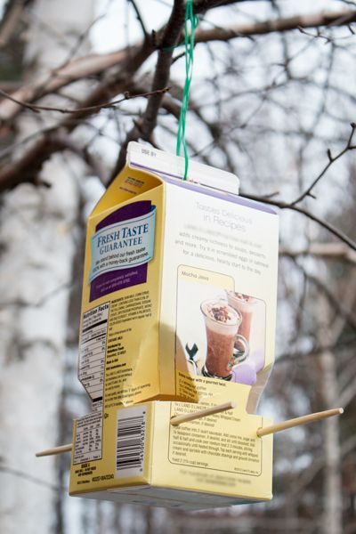 Making your own bird feeder from a recycled milk or juice carton is a quick and easy project to do with your kids that will bring birds flocking into your backyard for food.