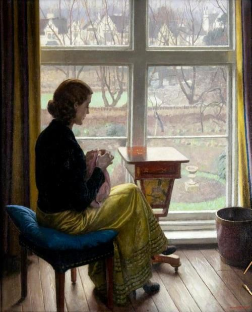 'A Window in St John's Wood' (London) 1932 by Harold Knight, English portrait, genre and landscape painter. (1874-1961)  Knight was born in Nottingham, England, the son of an architect, and studied at Nottingham School of Art under Wilson Foster.There...