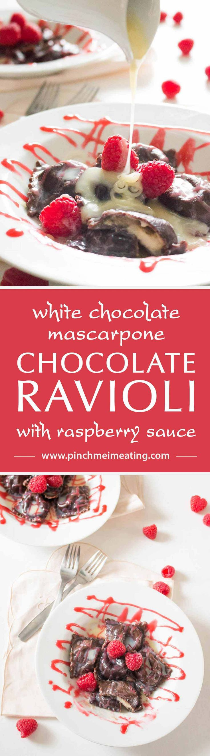 This chocolate ravioli with white chocolate mascarpone filling and raspberry sauce is an elegant, romantic, and unique dessert that is sure to impress! | www.pinchmeimeating.com