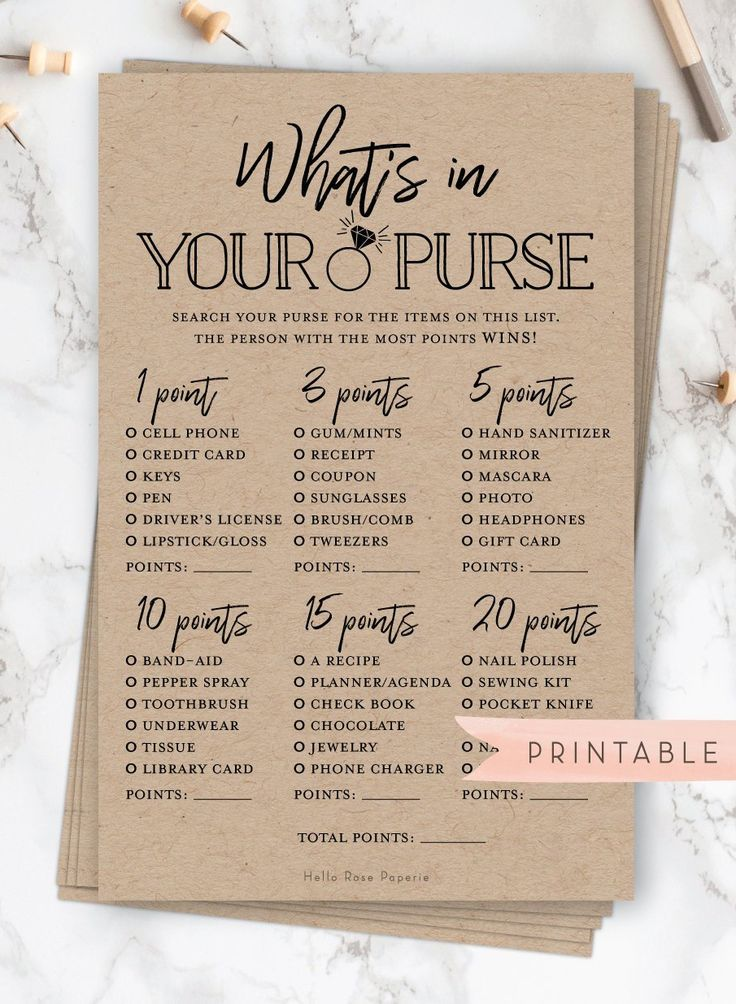 What's in Your Purse Game . Printable Bridal Shower Game . Rustic Kraft and White . Country Wedding Shower . Instant Digital Download