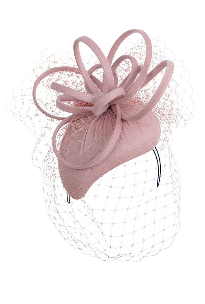 Blush pink cashmere cocktail hat with veil. Bespoke colour variations of this style are available.