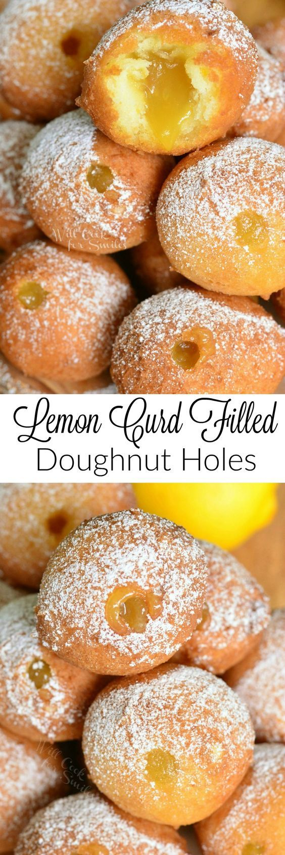 Lemon Curd Filled Doughnut Holes ~ super easy, no-yeast doughnut holes made with a touch of lemon zest and then filled with tangy lemon curd!