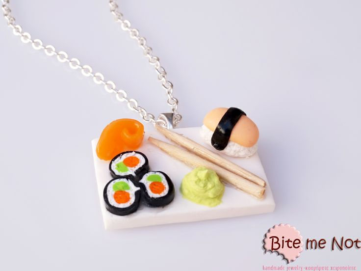 Sushi and wasabi -Silver plated long chain necklace!  -Assorted shusi (maki-tamago-salmon) and wasabi sauce! Take your chop sticks and enjoy!
