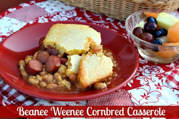 Mommy's Kitchen: Beanee Weenee Cornbread Casserole & {Easy Weeknight Meal Plan}: Recipe, Style, Food, Beanie Weenie, Cornbread Casserole